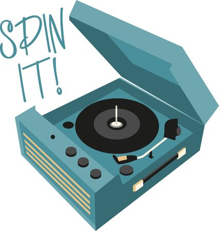 listen music: Record Players are traditional source to listen music. Add this retro design to a shirt
