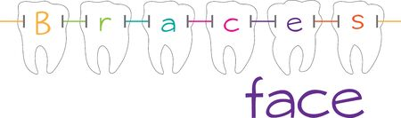 straighten: Dental braces  are devices used in orthodontics that align and straighten teeth and help to position them Illustration