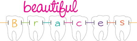 Dental braces  are devices used in orthodontics that align and straighten teeth and help to position them Ilustração