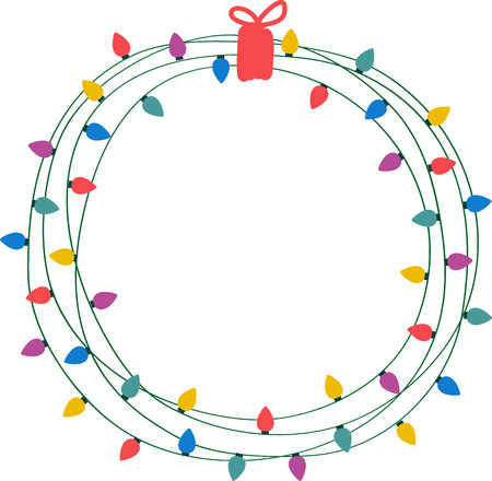 This Christmas wreath with battery operated lights makes holiday decorating  a joy. - 502 Christmas Light String Circle Stock Illustrations, Cliparts And