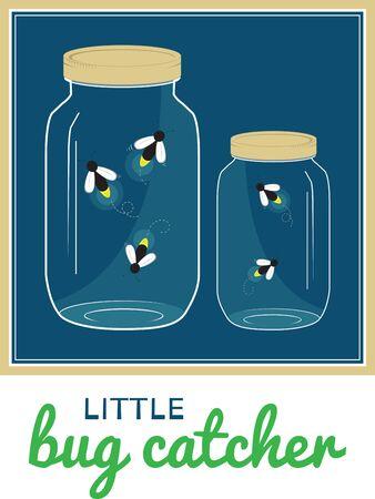 それだけ少しの間は磨きになるような蛍のようなあなたの愛を扱います。上部の穴と石工の jar ファイルにそれをキャッチし、それを誇示するために  イラスト・ベクター素材