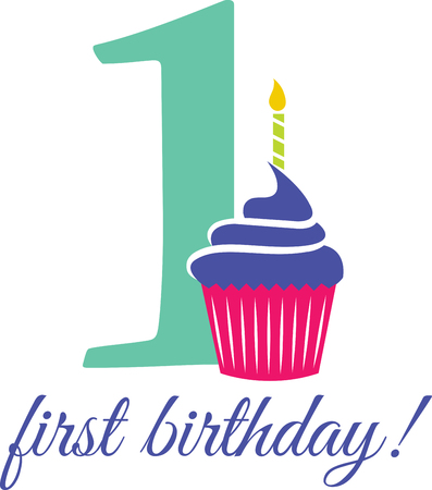 first birthday: Celebrate the special day of your dear one first birthday with this design by embroidery patterns.