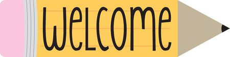 Begrüßen die Kinder wieder in die Schule mit unseren Spaß Bleistiftentwurf. Sticken sie auf eine Flagge für Ihre Klassenzimmer Standard-Bild - 41568830