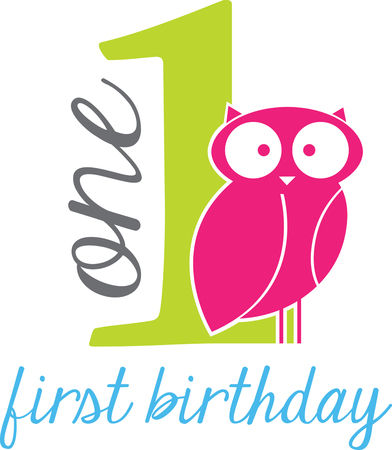 first day: Celebrate the special day of your dear one first birthday with this design by embroidery patterns.