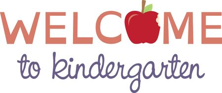 Stitch a special welcome to school with this graphic text and apple design.  It makes a great classroom flag decoration