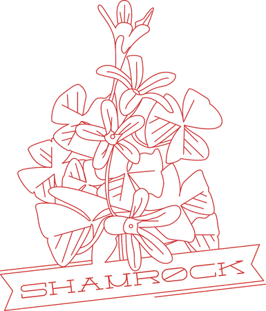 greenery: Shamrocks have lovely flowers and greenery.  This red work design highlights both.