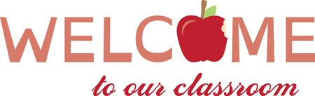 apple bite: Stitch a special welcome to the classroom with this graphic text and apple design.  It makes a great classroom flag decoration!