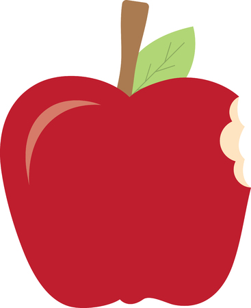 apple bite: Our apple looks so yummy someone has already taken a bite  It is a great design for a variety of projects from school related to kitchen dcor.