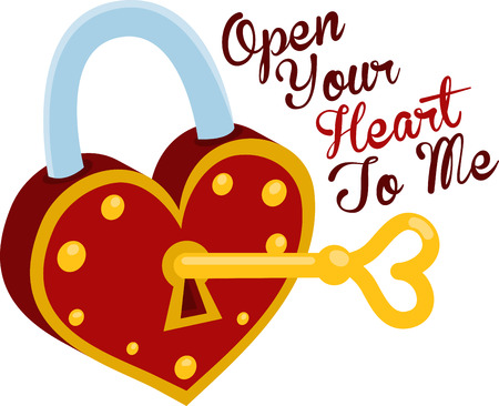 door lock love: Lock me in your heart and throw away the key. With this design by embroidery patterns. Illustration