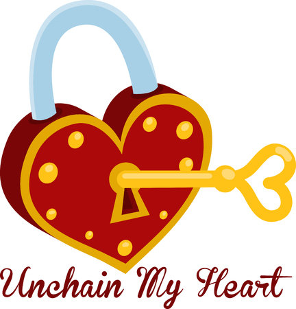 latchkey: Lock me in your heart and throw away the key. With this design by embroidery patterns. Illustration