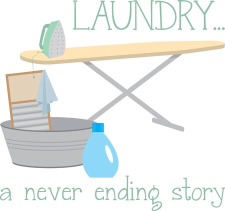 never ending: The seemingly never ending task of laundry day happens at every house  This is a lovely laundry design to stitch on your housework related projects. Illustration
