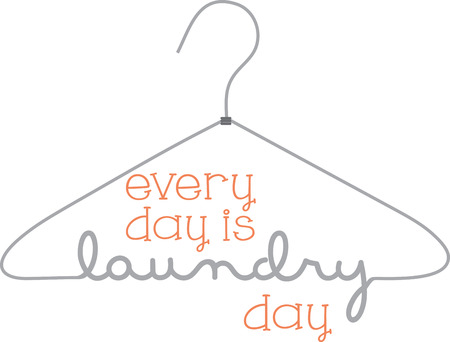 Hang up the laundry on this cleverly designed hanger graphic.  Use it for a door hanger or a part of a decoration for your laundry room. Ilustração
