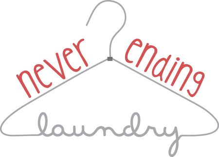 laundry hanger: Colgar la ropa en este gr�fico percha inteligentemente dise�ado. Util�celo para un aviso en la puerta o una parte de una decoraci�n para su cuarto de lavado. Vectores