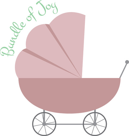 blankets: A pretty baby carriage for the new baby.  Stitch this cute stroller onto baby blankets for that new addition Illustration
