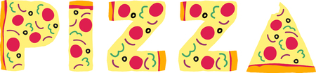 Is pizza one of your favorite foods Spell it out with this by the slice design.