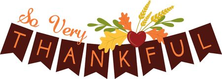 Use this thankful banner design to help celebrate Thanksgiving on your holiday project.