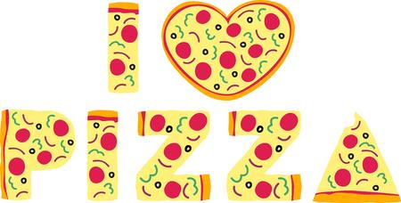 あなたの好きな食べ物の一つはスライス設計によってこれをそれを綴るピザです。