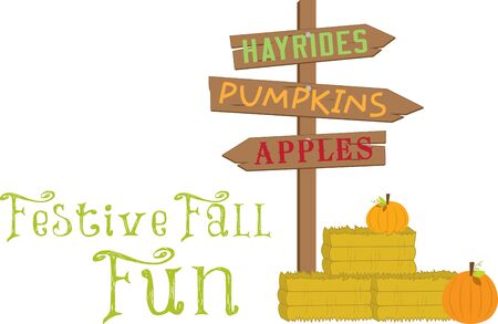 Have a happ harvest this fall with hayrides pumpkins and apples in this design.