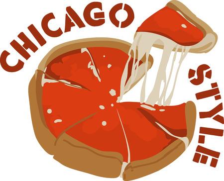 安っぽい深皿ピザは支持されたシカゴ スタイルの料理です。  イラスト・ベクター素材