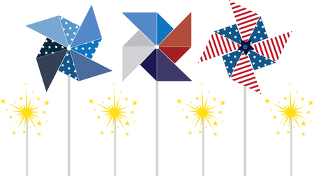 make them these pretty 4th of July pinwheels  or just make them for fun and decorations Illustration
