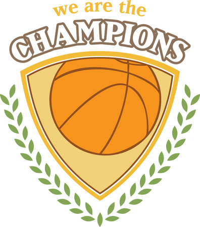 This is a classy emblem for sports apparel or bags.  Stitch this lovely  basketball emblem to support your sport hero. Illusztráció