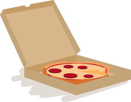 持つような配信ピザはこのペパロニのピザをお試しください、ボックス デザインを移動します。  イラスト・ベクター素材