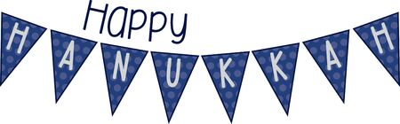 Use this Hanukkah banner design for your holiday project. Çizim
