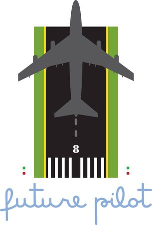 Take off on runway 8 for the future pilot  Our jet is ready to fly onto your shirts and garments for a special military or travel theme. Illustration
