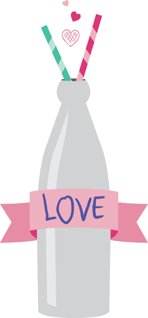quench: Quench your need to stitch something cute with this classic shape bottle.  Complete with two straws for sharing with a sweetheart.  Try our Advanced Instant Lettering to create text for the banner