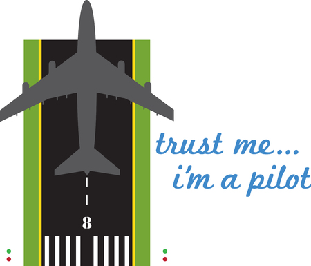 runway: Take off on runway 8  Our jet is ready to fly onto your shirts and garments for a special embellishment for your favorite pilot. Illustration