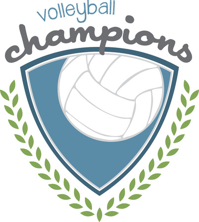 This is a classy emblem for sports apparel or bags.  Stitch this lovely  volleyball emblem to support your sport hero.