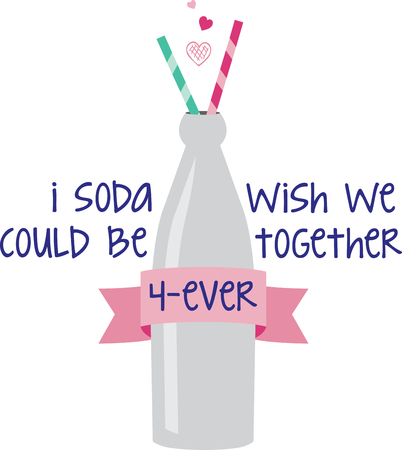 Quench your need to stitch something cute with this classic shape bottle.  Complete with two straws for sharing with a sweetheart.