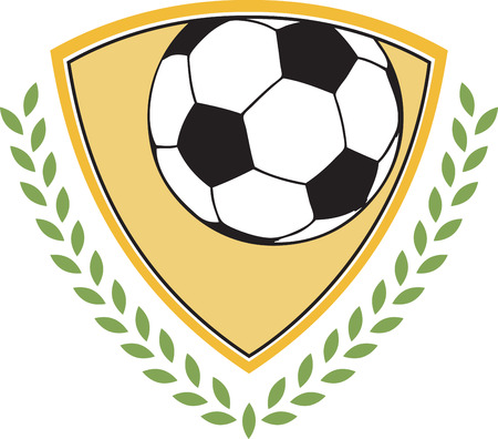 This is a classy emblem for sports apparel or bags.  Stitch this lovely  soccer emblem to support your sport hero.