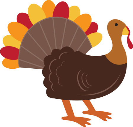 This beautiful turkey will look great on napkins or towels this Thanksgiving.