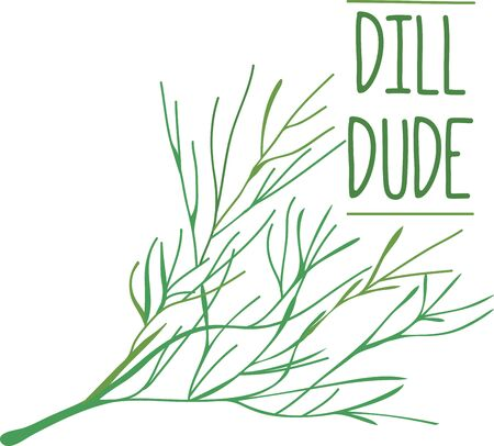 Use these aromatic Dill to decorate your favorite pasta.  向量圖像
