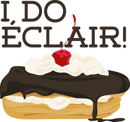 Préférée de délicieux dessert; chocolat clair avec une cerise sur le dessus. Piquez ce sur votre projet de broderie pour des résultats délicieux! Banque d'images - 42252571