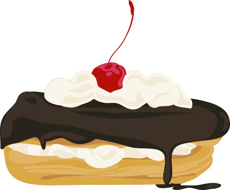 Yummy dessert favorite; chocolate clair with a cherry on top.  Stitch this onto your embroidery project for yummy results!