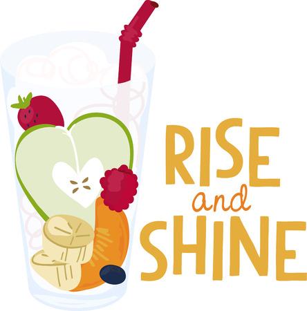 Een heerlijk glas gezond fruit voegt een in het oog springende element om uw borduurwerk projecten. Stock Illustratie