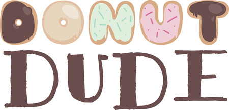 tratar: All kinds of donuts make up these fun letters that spell out this favorite treat.  Yummy for so many kitchen embroidery projects.