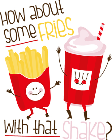 Care for some fries with that  Heres the happiest fries we have ever seen!  Add them to your food related projects and add a smile!