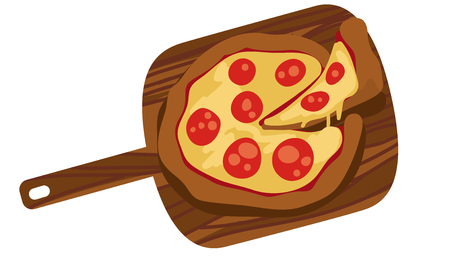 Flame baked is a pizza lovers favorite. Have a slice right out of the oven. Illustration