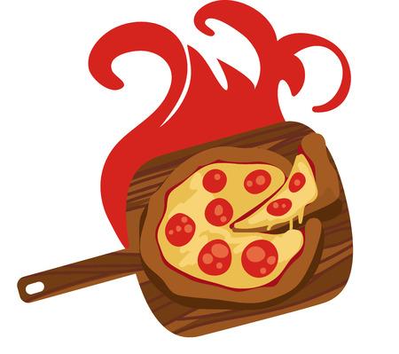 炎の焼きはピザ愛好家のお気に入りです。オーブンからスライス権利があります。
