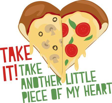 あなたがピザ好きここではスライスが心を作るデザイン。  イラスト・ベクター素材
