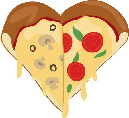 here's: Do you love pizza Heres a design where slices make a heart.
