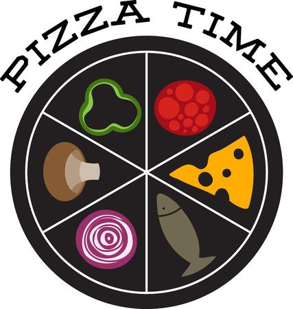 ピザのシェフの料理ホイール。あなたの成分を選択し、行くためにそれを注文します。  イラスト・ベクター素材