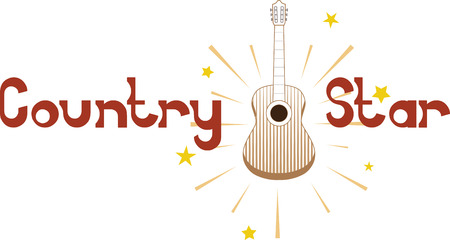 Acoustic guitar with shining stars for country music fans. Ilustração