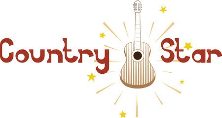 country music: Chitarra acustica con stelle lucenti per gli appassionati di musica country.