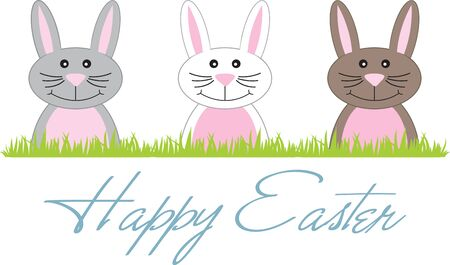poking: Cute Easter Bunnies poking their heads above the grass. Illustration