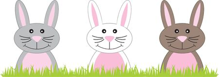cony: Cute Easter Bunnies poking their heads above the grass. Illustration