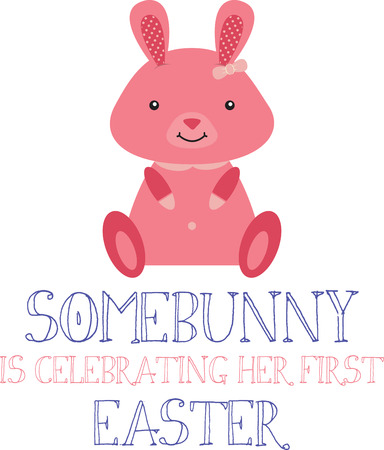 cony: Cute pink Easter Bunny sitting up and smiling. Illustration
